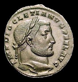 Romeinse bronzen munt met het portret van keizer Diocletianus