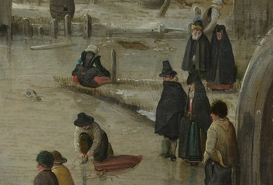 Schaatsenrijden in een dorp