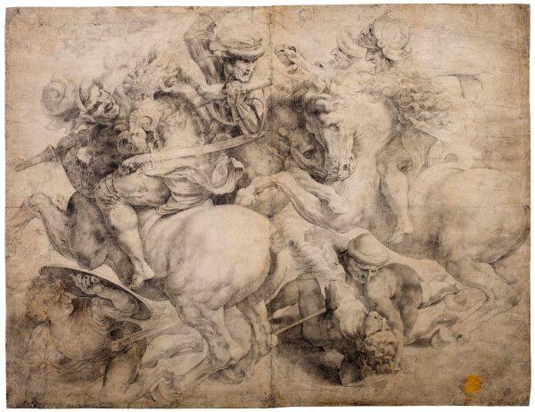 Een tekening naar een schilderij van Leonardo da Vinci