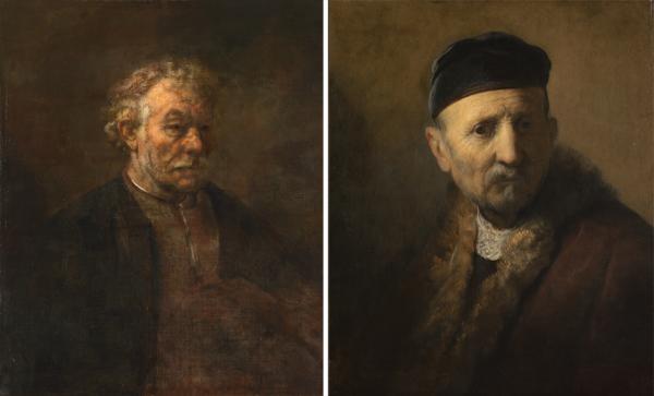 Studie van een oude man en Tronie van een oude man, toegeschreven aan Rembrandt
