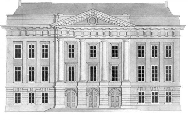 Tekening van het stadhuis in Utrecht rond 1830