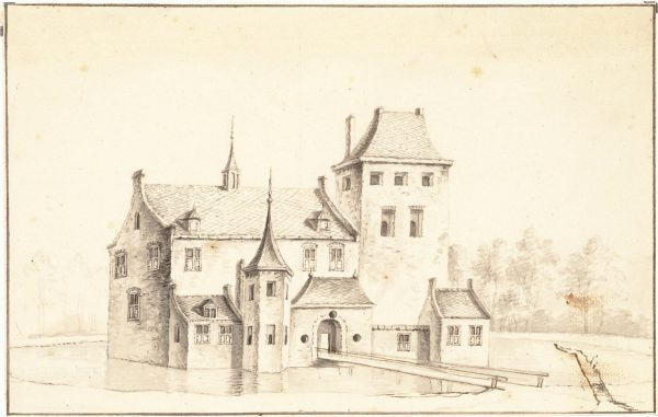 Tekening van Kasteel Middelburg naar de toestand van 1475 (datering 1750)