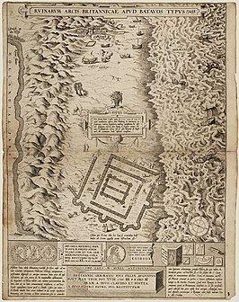 Oudste afbeelding van de Brittenburg, een gravure door Abraham Ortelius uit 1566, naar een tekening die hij in dat jaar ontvangt van Guido Laurinus