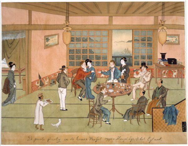 De grote partij in de kamer van het opperhoofd-Keiga Kawahara-Japan-circa 182