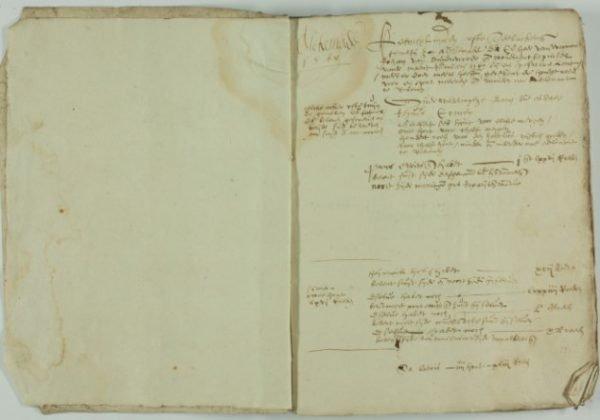 Eerste pagina uit het register van de opmetingen van de 'kenniplanden ofte teelackers'