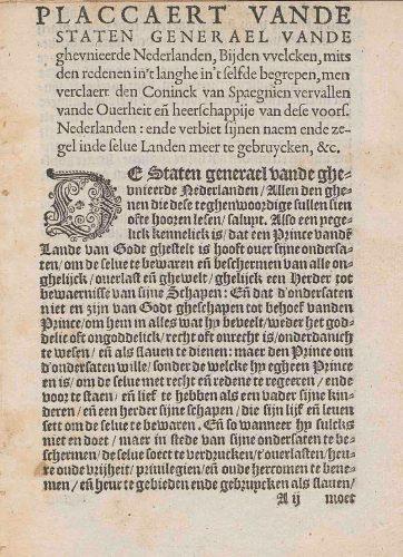 De eerste pagina van de gedrukte versie van het Plakkaat van Verlatinghe