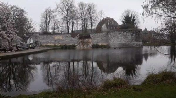 De ingestorte oude stadsmuur in Maastricht