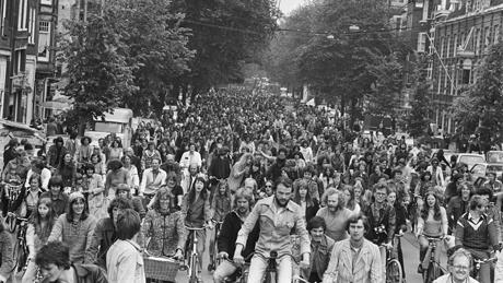 Landelijke fietsdemonstratie in Amsteram in 1977