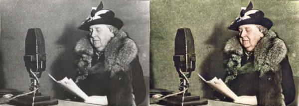 Voor en na: Koningin Wilhelmina bij Radio Oranje