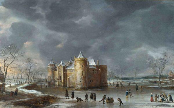 Gezicht op het Muiderslot, 1658, Jan Abrahamsz. van Beerstraten