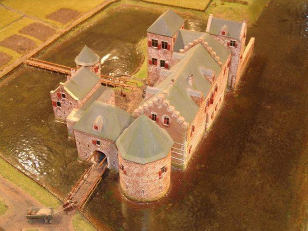 Een reconstructie van hoe het kasteel er uit kan hebben gezien