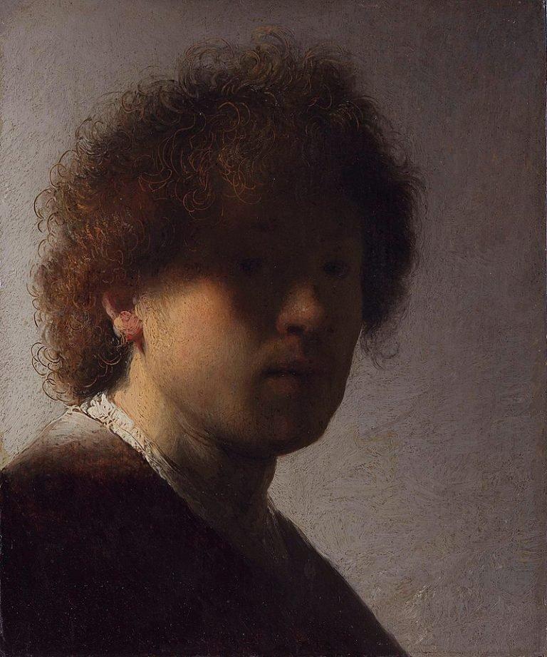 Zelfportret Rembrandt, geschilderd op 22-jarige leeftijd (ca. 1628)