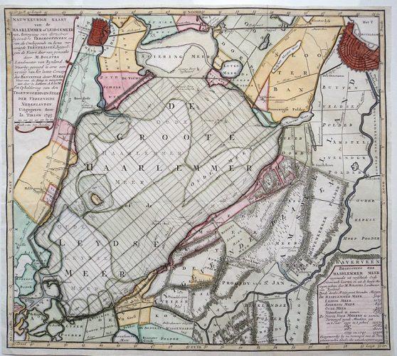 Kaart van de Haarlemmermeer - Melchior Bolstra, 1745