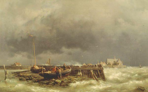 Schokland enige jaren voor de ontruiming door Hermanus Koekkoek jr (1860)