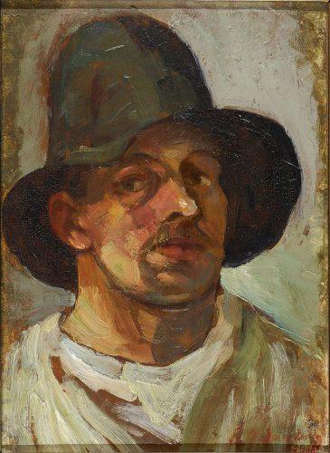 Theo van Doesburg - Zelfportret met hoed (1906)