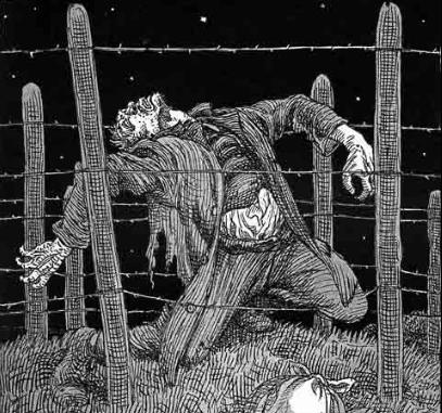 De Dodendraad, getekend door Albert Hahn in 1915