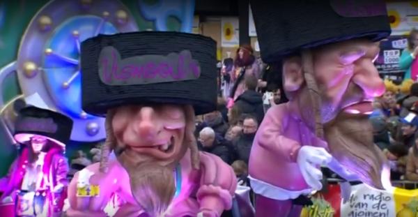 De praalwagen van carnavalsgroep Vismooijlen waar commotie over ontstond