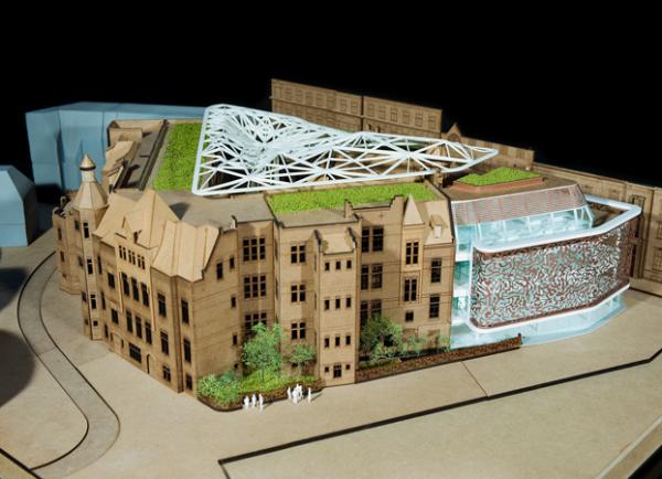 Ontwerp voor Binnengasthuisterrein Amsterdam van MVSA Architects en architectenbureau J. van Stigt, waarbij oud en nieuw wordt gecombineerd