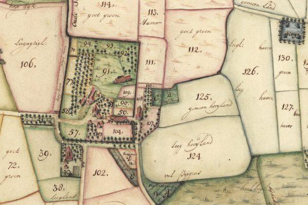 Klooster Yesse, uitsnede van een kaart van Henricus Teijsinga uit 1732