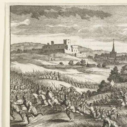 Ets van de Slag bij Ane 1227 met op de achtergrond de burcht