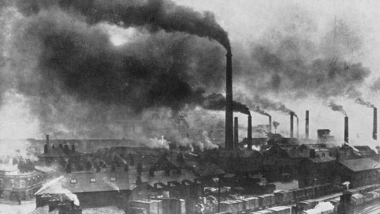 Photograph of Widnes in the late 19th century showing the effects of industrial pollution.
