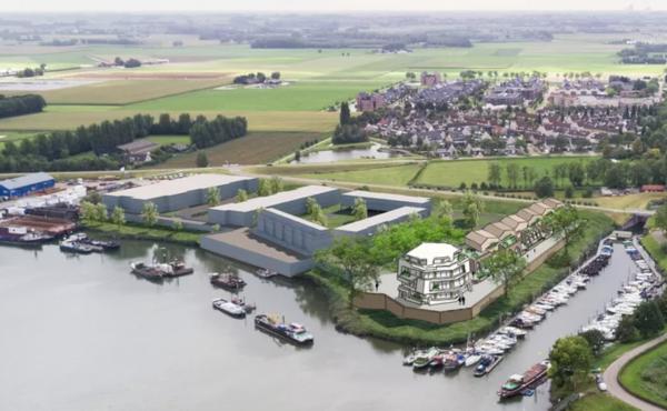 Een impressie van het plan aan de Hoge Maasdijk in Woudrichem.